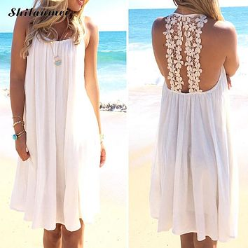 Sexy Summer embroidered dress 2018 chiffon female women beach dresses hollow out white lace backless sexy dress vestido de festa