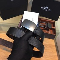 COACH belt double sided men's belt double buckle gift box strap