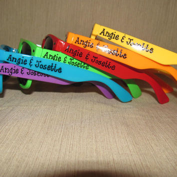 Set of 6 Rainbow Wedding favor personalized sunglasses for outside ceremony/reception/photo booth/beach wedding