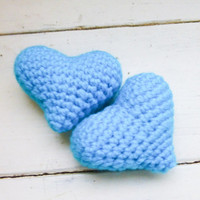 Amigurumi hearts, crochet hearts, crochet hearts turquoise, bowl sitters, vase filler, cat toy, ready to ship, hand crocheted, ami hearts