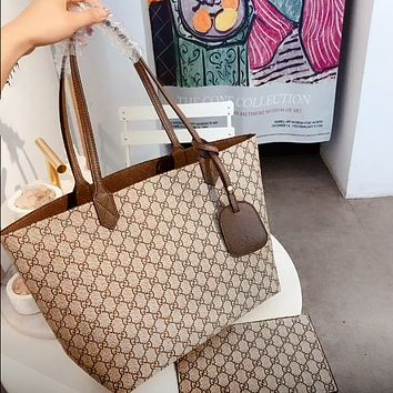 GUCCI simple canvas tote bag shopping bag mother bag two-piece set