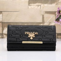 Prada Women Leather Buckle Wallet Purse Black I-MYJSY-BB Tagre™