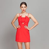 Casual Red Cut Out Mini Dress