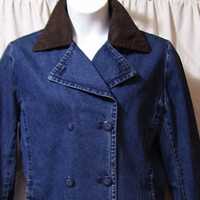Denim Coat, Jacket, 3/4 Length, Double Breasted, Faux Suede Collar, Size L Large, Fall Winter Back to School - Edit Listing - Etsy