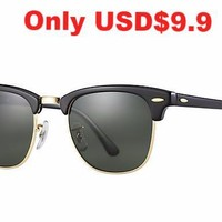 Ray Ban Clubmaster Sunglass Black with G-15 Lens RB 3016 W0365