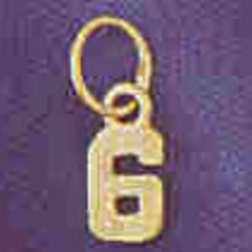 14K GOLD NUMERAL CHARM - #6 #9512