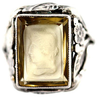 Carved Topaz Intaglio Sterling Silver Ring Art Nouveau