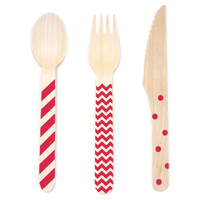 36-Pc Wooden Cutlery Set, Red, Cutlery Knives