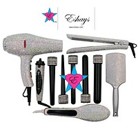 Iridescent Crystal Blow Dryer Bedazzled Hair Styling Tools Kit