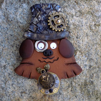 Funny fridge magnets refrigerator hand made polymer clay kitchen decore cool weird funny gag gift gifts geekery dog steampunk