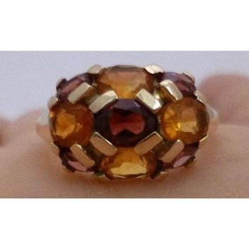Luxinelle Citrine and Garnet Yellow Gold Ring - Multicolor Orange and Brown
