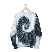 Black and Gray Tie-Dye Unisex Crewneck Sweatshirt