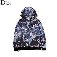 Dior New Fashion Letter Plum Blossom Mechanical Tyrannosaurus Printed Pattern Jacket Men and Women Personality Hoodie