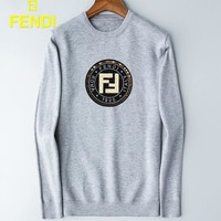 FENDI Trending Men Casual Long Sleeved Round Collar Sweater Sweatshirt