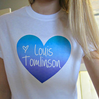 One Direction 1D Purple/Blue/Turquoise Ombre Heart T-Shirt in White Size Adult S, M, L, or XL (Option of Louis, Harry, Liam, Zayn, or Niall)