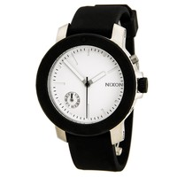 Nixon A317000 Women's The Raider Silver Dial Black Silicone Strap Crystal Accented Watch