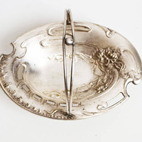 Antique Art Nouveau Woman Profile Dish, Nickel Plated Footed Tidbit Tray with Handle, Stamped Metal Dish (WORN)