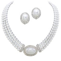 Elegant 3 Strand Pearl Tone Drop Bridal Necklace with CLIP ON Earring Set