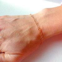 Delicate 14k Rose Gold Fill Chain Anklet or Bracelet; Simple Unique Gift for Her; Gift for Mom; Layering Bracelet; 14k Rose Gold Anklet