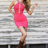 Sherri Hill 32228 Short Lace Bandage Prom Dress