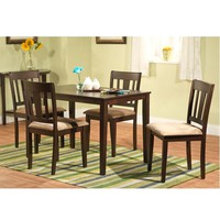 5-Piece Espresso Finish Table & 4 Dining Chairs with Brown Microsuede Seats