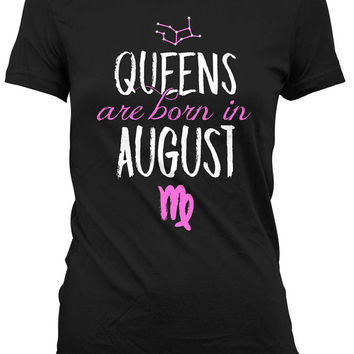 Virgo Birthday Gifts Zodiac Sign Astrology T Shirt Horoscope TShirt Bday Present Virgo Shirt Queens Are Born In August Ladies Tee DAT-932