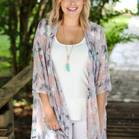 Settle Things Kimono - Pink Floral
