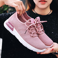 Fashion sports shoes women sneakers Breathable knitted  flying thread comfort casual sheos pink