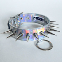 Holographic silver PVC leather choker with spikes and o-ring