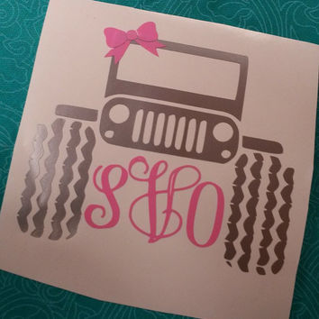 Monogrammed Jeep | Jeep Monogram | Jeep Decal | Monogram Decal | Vinyl Decal | Jeep Life | Decal | Car Decal | Sticker | Monogram