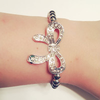 Adorable Silver and Crystal Rhinestone Loop Bow Connector Jewelry Making Large Unique Curve Arm Candy DOLLAR SHIPPING in US
