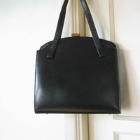 Simply Chic Black Leather 1960s Purse; Top Clasp Midcentury Handbag by Dobbie; U.S. Shipping Included