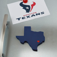 """Houston Texans """"State Heart"""" Magnet, handcrafted wood with official team colors"""
