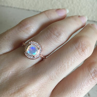 Fire Opal Engagement Ring- Rose Gold Opal Ring- Halo Ring- Wedding Ring- Bridal Ring- Promise Ring for Her- Anniversary Ring- Gemstone Ring