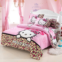 Home textiles bedclothes,Child Cartoon pattern,Hello kitty bedding sets include duvet cover bed sheet pillowcase,Free shipping