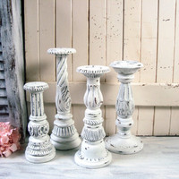 Farmhouse White Tall Candleholders, Ornate White Distressed White Candlestick Holders, Pillar Candle Holders Shabby Chic Chunky Candleholder