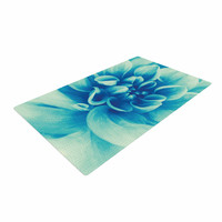 "Graphic Tabby ""Blue Beauty"" Teal Floral Woven Area Rug"