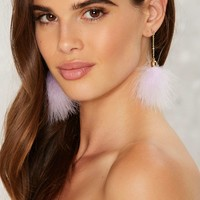 Puff You Forever Earrings - Purple