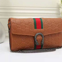 shosouvenir: Gucci Women Leather Metal Chain Crossbody Shoulder Bag Satchel G-LLBPFSH
