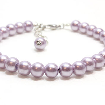 Large Mauve Pearl Dog Collar. Purple Pearl Cat Collar. Pearl Pet Jewelry for Dogs. Strand of Pearls for Dogs. Glass Pearl Pet Collar.