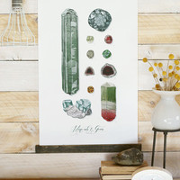 Minerals & Gems Vol.1 - large wall hanging, wood trim and printed on textured cotton canvas. Vintage Science Posters