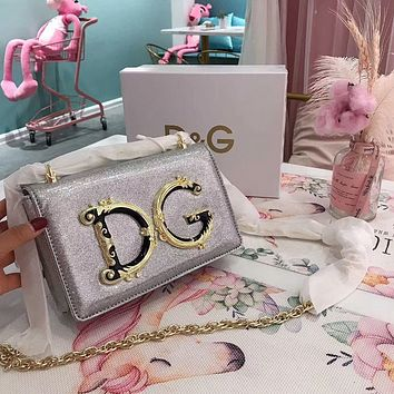 D&G Dolce & Gabbana Women Shopping Chain Leather Crossbody Satchel Shoulder Bag silver