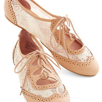 ModCloth Vintage Inspired Twee and Easy Flat in Blush