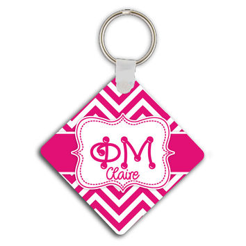 PHI MU - THIN PINK CHEVRON - SORORITY KEYCHAIN
