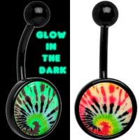 Glow in the Dark Titanium Tie Dye Swirl Belly Ring | Body Candy Body Jewelry
