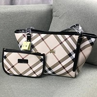 Burberry Newest Popular Women Shopping Leather Handbag Tote Shoulder Bag Purse Set Two Piece Black