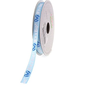 Baby Shower Grosgrain Ribbon, 3/8-inch, 10-yard, Its a Boy w/ Shoes