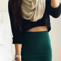 Knitted Crop Sweater - Black