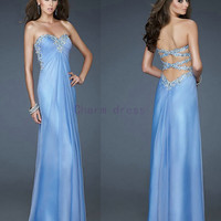 Sweetheart light blue prom dress    Crystal Beading Chiffon evening prom gowns with Sequins    cheap Pleated Long Prom Dress