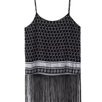 Black Tribal Printed Tassel Fringe Cami Crop Top